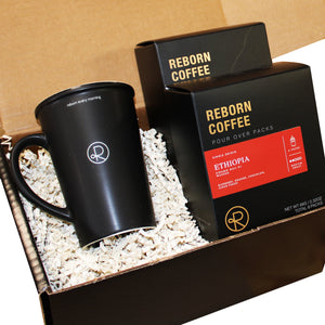 Reborn Coffee Drip Bag Coffee Gift Set. Specialty Coffee Gift Set for Coffee Lovers. This Gift Set includes 2 boxes of Pour over drip bag coffees and a FREE Mug. Gourmet Coffee Gift Set. Birthday Gift, mother's day gift, father's day gift, Thanksgiving, Christmas gift idea. Coffee gift idea.