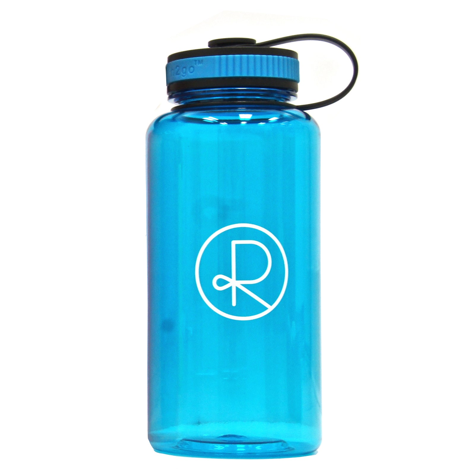 Reborn Coffee h2go Wide Water Bottle. 34 oz. Single Wall Tritan Copolyester Bottle with Threaded Lid. Patent Pending for Cold Beverage. color: BLUE