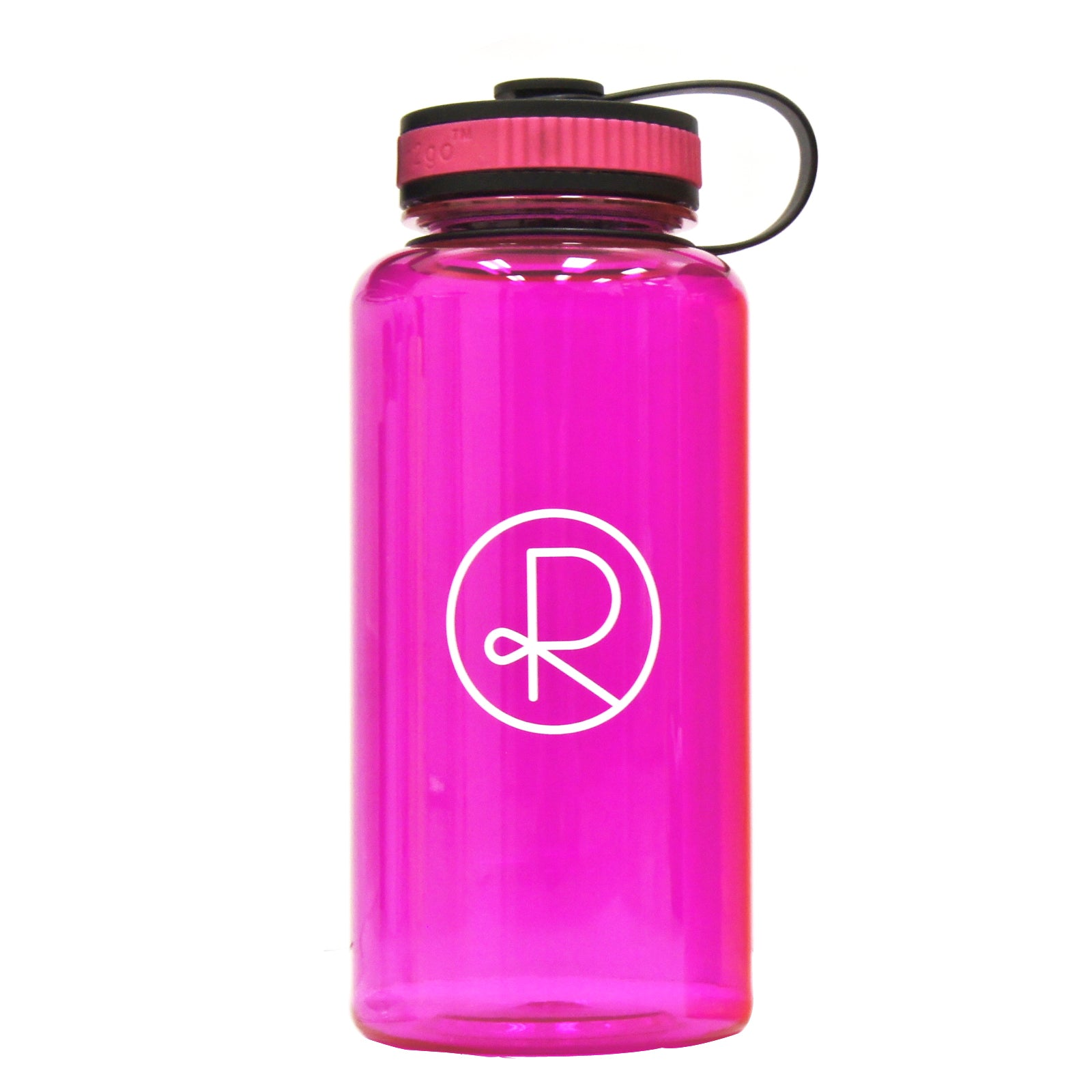 Reborn Coffee h2go Wide Water Bottle. 34 oz.Single Wall Tritan Copolyester Bottle with Threaded Lid. Patent Pending for Cold Beverage. color: PINK