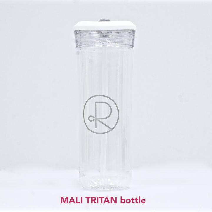 Reborn Coffee h2go MALI Tritan Bottle-Clear 25 oz.(470mL). Single Wall Tritan Copolyester Bottle with Threaded Lid. Flip-up Spout and Inner Soft Straw. Patent Pending for Cold Beverage.