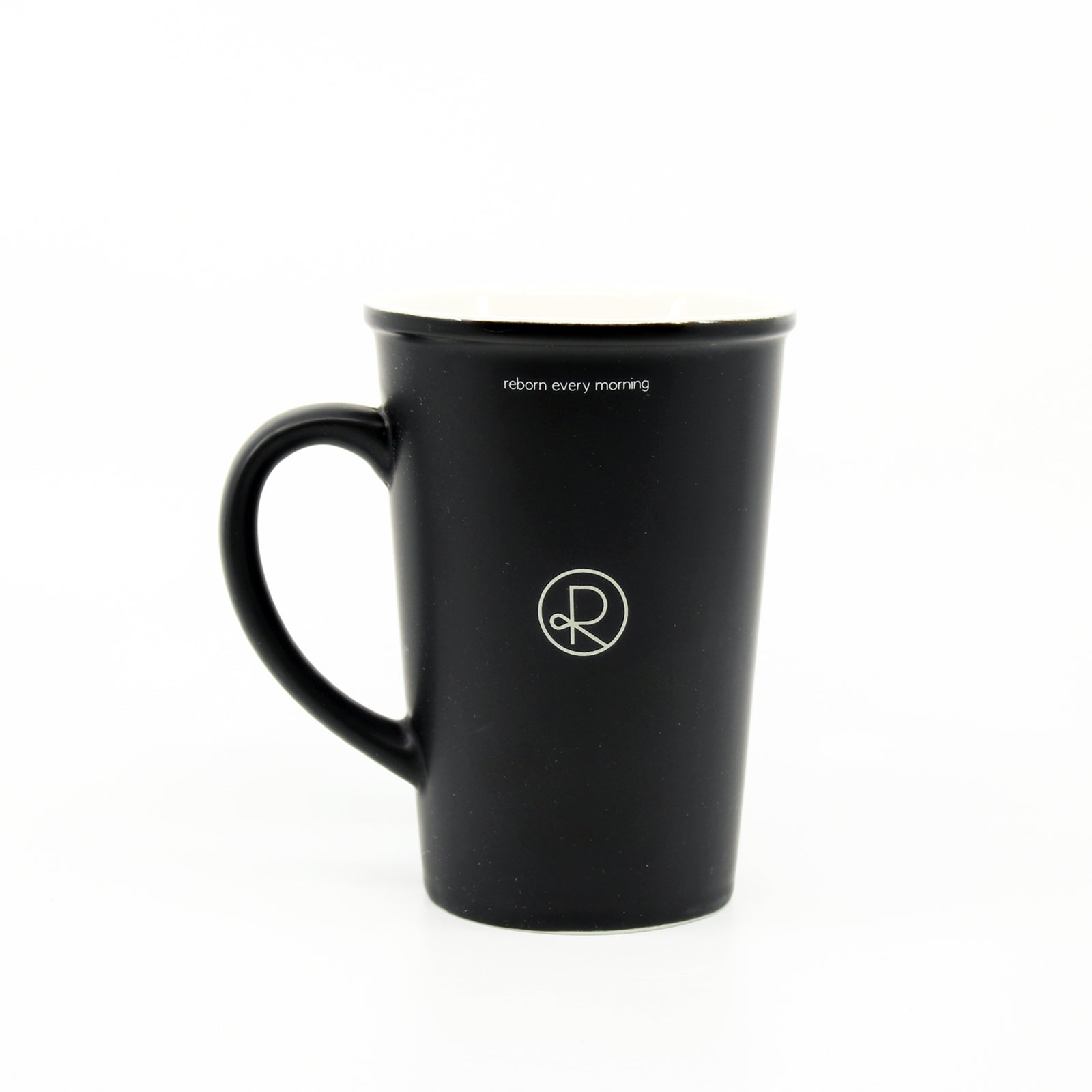 Reborn Coffee Mug Black. Reborn Every Morning. Enjoy  Every Drip. Color: Black with White . C-Handle . Perfect for Reborn Coffee Fans