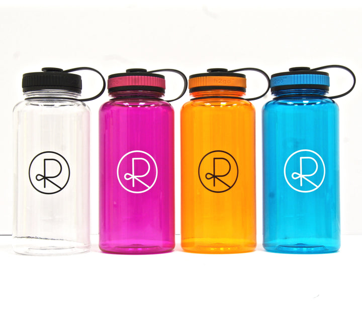 Reborn Coffee h2go Wide Water Bottle. 34 oz. Single Wall Tritan Copolyester Bottle with Threaded Lid. Patent Pending for Cold Beverage.