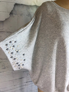 Anthropologie Postmark Grey Pearl Embellished Sweatshirt