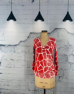 Orange Giraffe Print Sweater