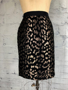 Ann Taylor Black & Metallic Gold Pencil Skirt