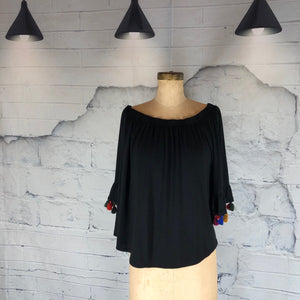 Kim & Cami Black top with Tassel Sleeves - Weathered Hanger
