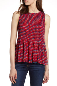 Halogen Red Pleated Sleeveless Top - Weathered Hanger