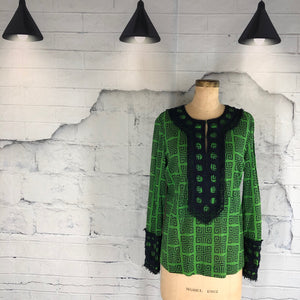 Tory Burch Green and Navy Tunic Top