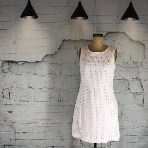 Alfred Sung White Eyelet Sleeveless Dress