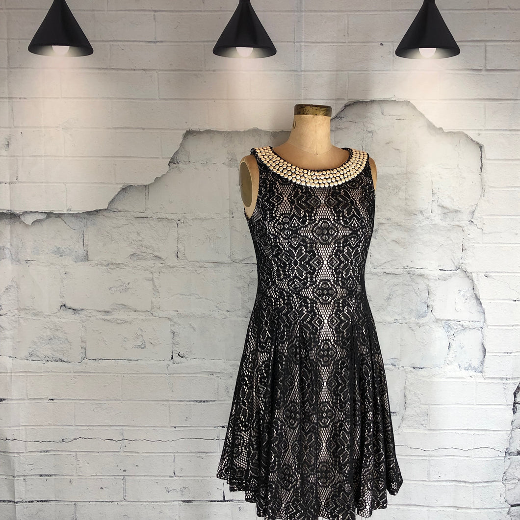 Betsey Johnson Lace Pearl Neck Dress - Weathered Hanger
