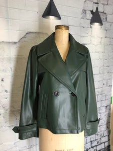 Ann Taylor Faux Leather Short Trench Coat - Weathered Hanger