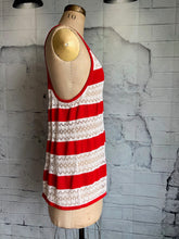 L.A.M.B. striped cotton pointelle knit tank top - Weathered Hanger