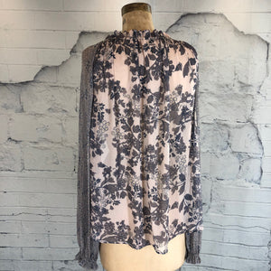 Free People Grey Floral Boho Blouse