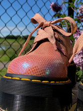 Dr. Martens Holly Women's Pink Iridescent Leather Platform  Shoes - Weathered Hanger