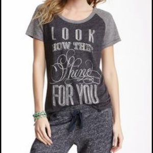 "Lucky Brand ""Look how they shine for you"" Tee - Weathered Hanger"