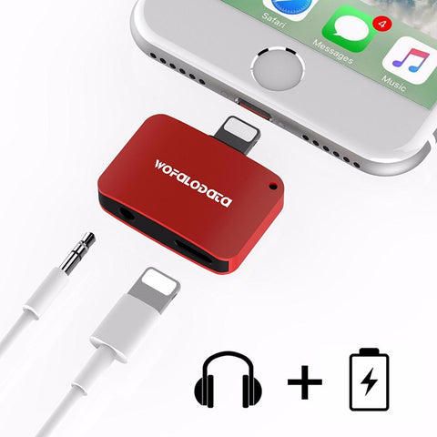 Dual Lighting And Headphone iPhone Adapter [RED]