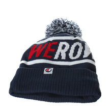 The WEROW bobble hat for rowers features a fleece lining, WEROW red and white logo woven into the blue knitted hat with WEROW logo label to the upturned cuff and makes an ideal gift for rowers