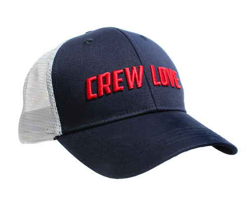 The CREW LOVE trucker cap for everyone in your crew - ideal for rowers or crossfitters, with a soft white meshback and navy cotton front with red raised