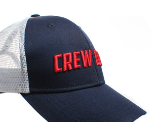 "The CREW LOVE trucker cap for everyone in your crew - ideal for rowers or crossfitters, with a soft white meshback and navy cotton front with red raised ""CREW LOVE' motif"