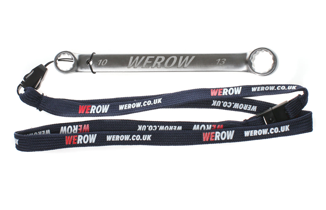 rigger jigger from WEROW - a double ended 10x13mm ring spanner in stainless steel spanner for rowers shown here with included lanyard