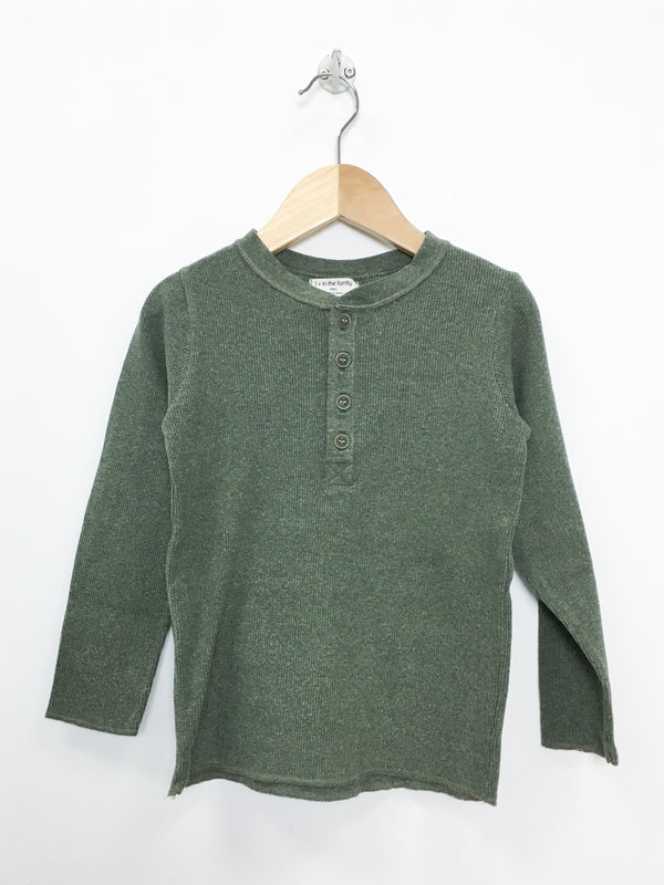 1 + in the family T-Shirt 4y / Like New Re-Cycle Army Green Ribbed Henley Tee
