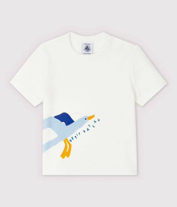 Short-Sleeved Ribbed T-Shirt - Seagull
