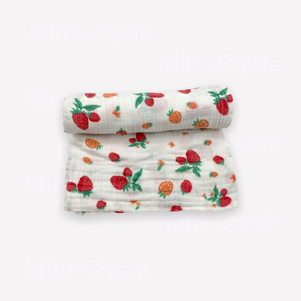 Re-Cycle Strawberry Patterned White Swaddle Blanket