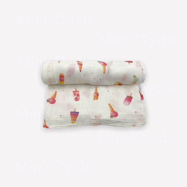 Re-Cycle Popsicle Patterned White Swaddle Blanket