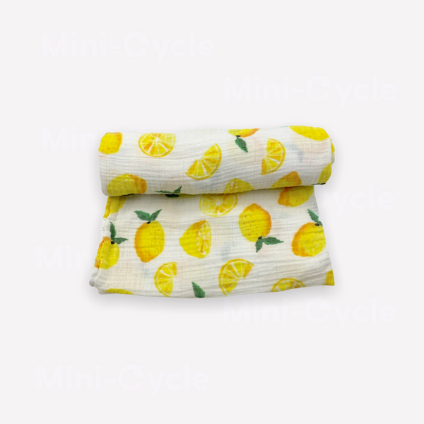 Re-Cycle Citrus Patterned Yellow Swaddle Blanket