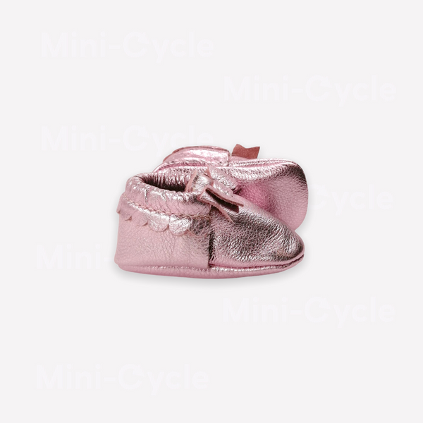 Re-Cycle Metallic Pink Moccasins -Frosted Rose
