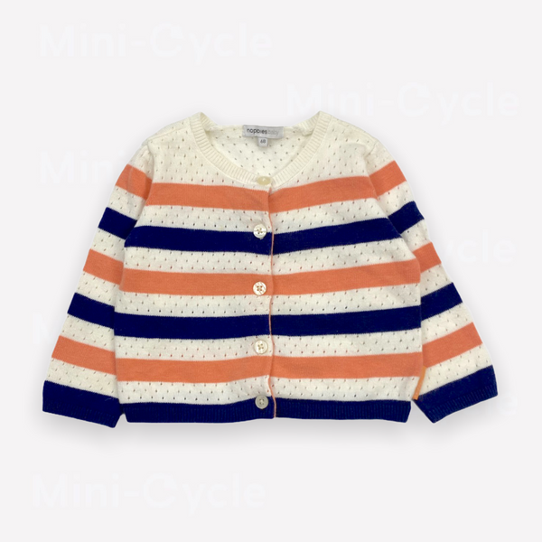 Re-Cycle Striped White Cardigan