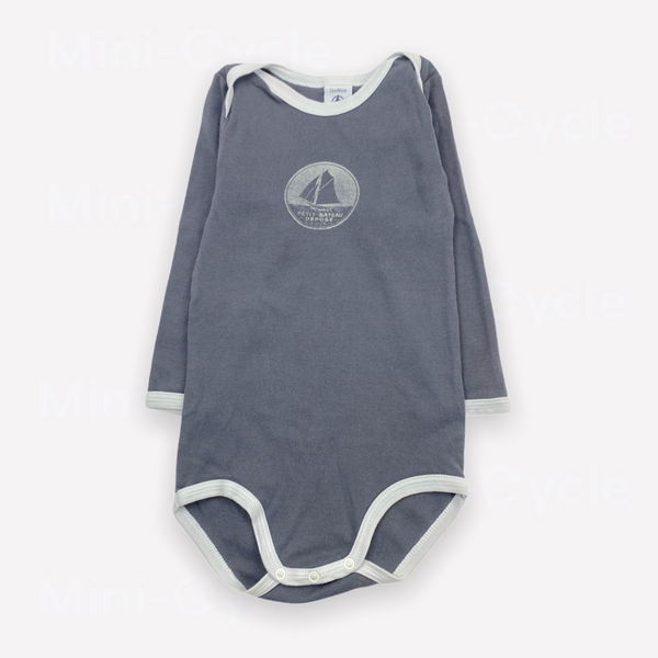 Re-Cycle Graphic Charcoal Long-Sleeve Onesie