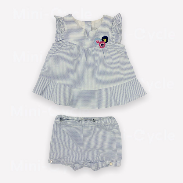 Re-Cycle Striped Light Blue Top + Bloomers