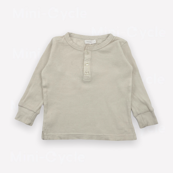 Re-Cycle Solid Cream Long-Sleeve Waffle Tee