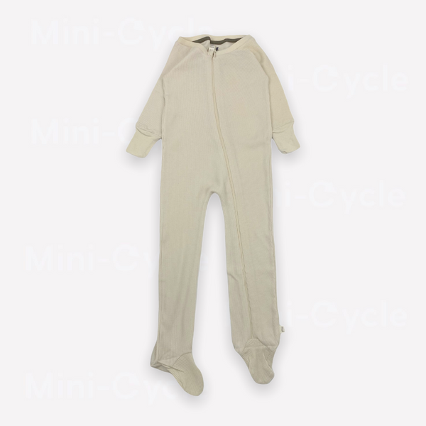 Re-Cycle Solid Beige Footed Waffle Pyjama