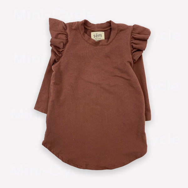 Re-Cycle Solid Brown Ruffle Tunic