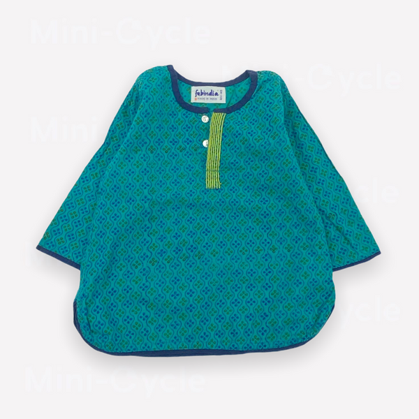 Re-Cycle Patterned Teal Blouse