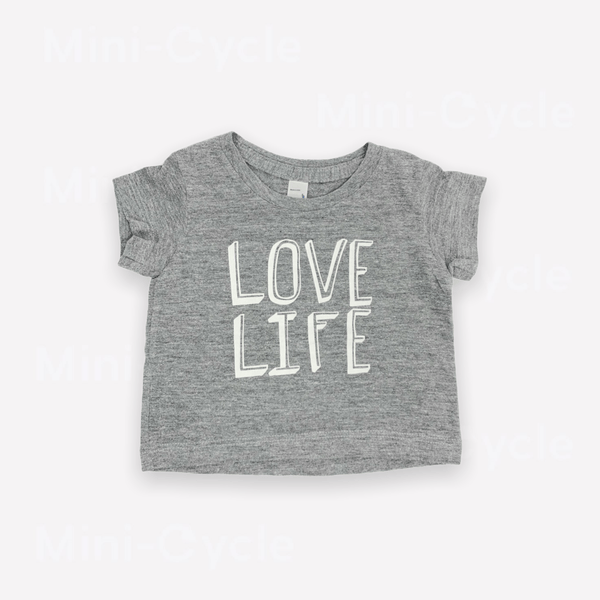 American Apparel T-Shirt 3-6m / Like New Re-Cycle Graphic Grey T-Shirt - Love Life