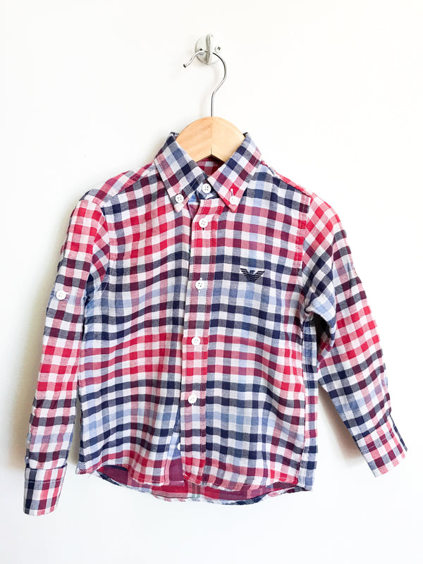Armani Baby Shirts 2y / Like New Re-Cycle Red and Blue Plaid Button Shirt
