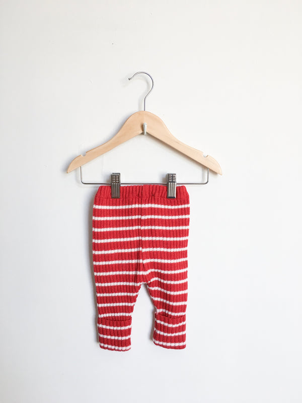 Bobo Choses Bottoms 3-6m / Gently Used Re-Cycle Red and White Knit Leggings