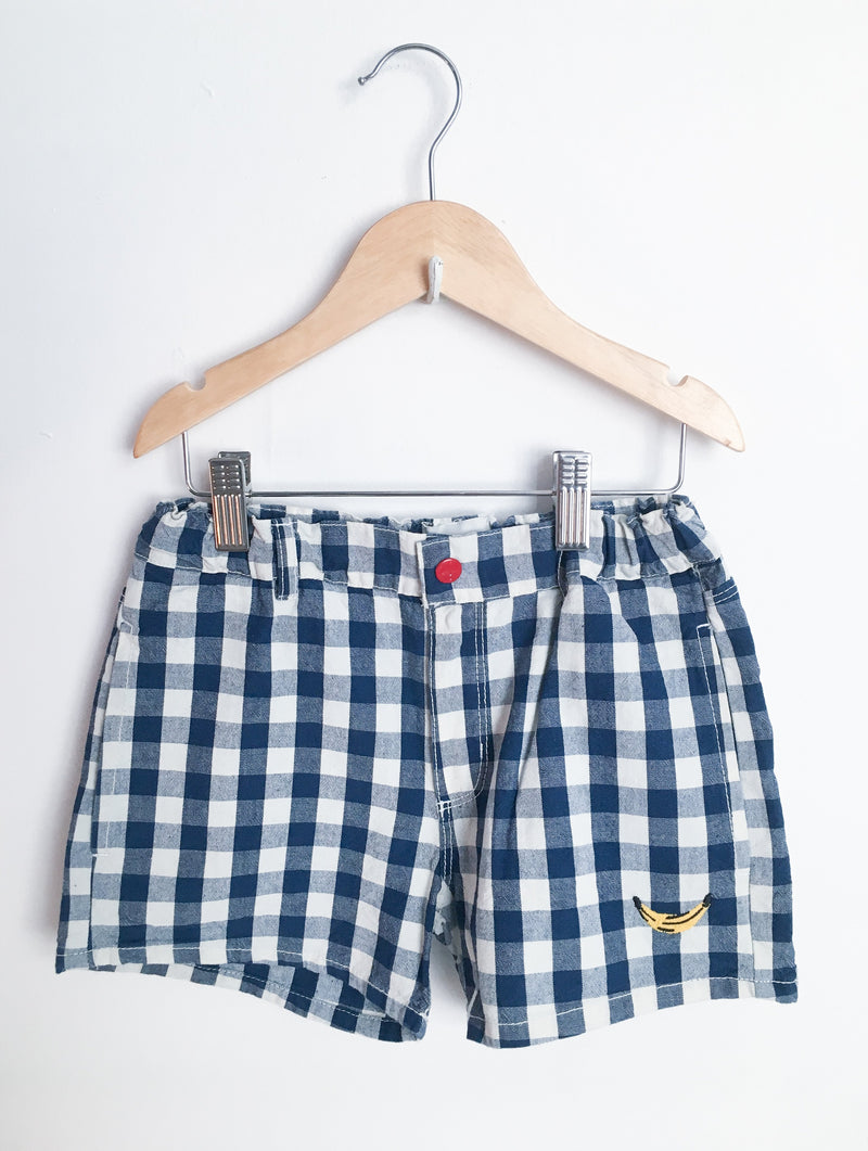 Bobo Choses Bottoms 6-7y / New with Tag Re-Cycle Blue Gingham Banana Shorts