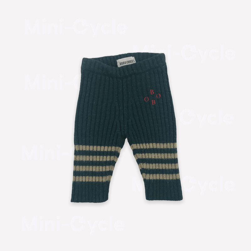 Bobo Choses Leggings 3-6m / Preloved Re-Cycle Striped Green Leggings