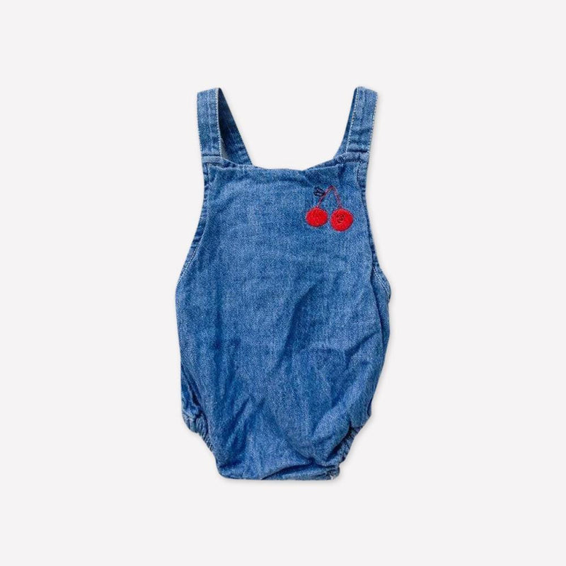 Bobo Choses Romper 3-6m / Like New Re-Cycle Cherry Embroidered Blue Romper