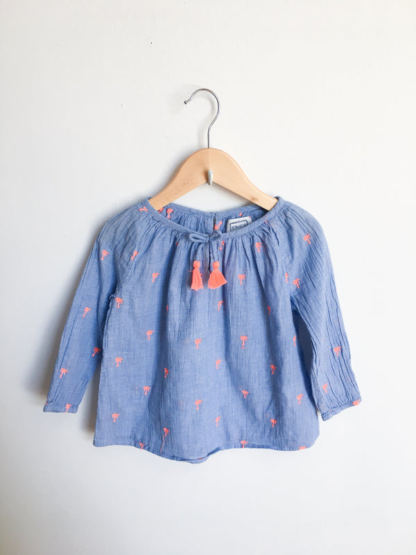 Bonheur du Jour Shirts 4y / Gently Used Re-Cycle Palm Tree Blouse