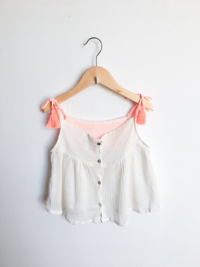 Bonheur du Jour Tops + Bodysuits 4y / Gently Used Re-Cycle White and Orange Tank Top
