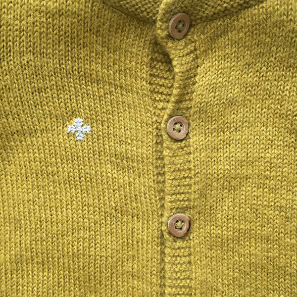 Bonpoint Cardigan 12m / Preloved Up-Cycle Yellow Wool Cardigan - Snowflake Embroidery