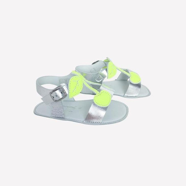 Bonpoint Sandals EUR 18 / New in Box Re-Cycle Fluo Yellow Cherry Silver Sandals