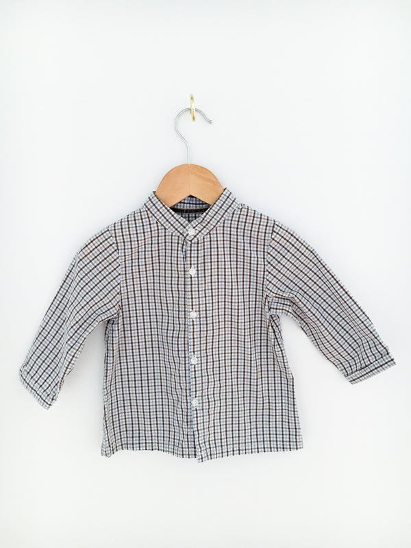 Bout'Chou Shirts 12m / Like New Re-Cycle Collarless Blue and Brown Plaid Shirt