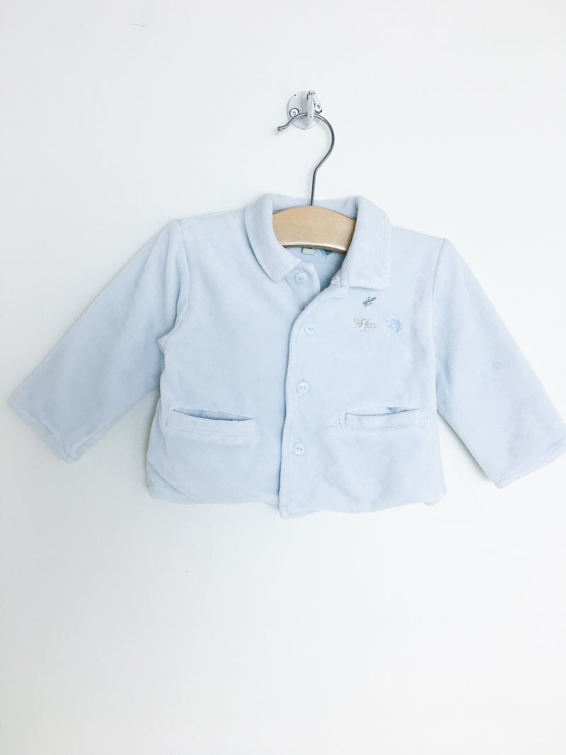 Bout'Chou Sweaters 3m / Gently Used Re-Cycle Light Blue Velour Baby Jacket