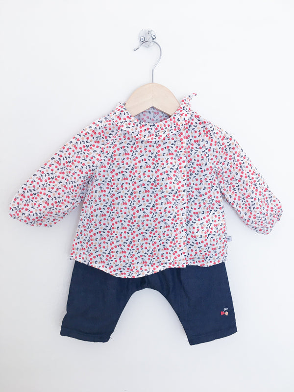 Cadet Rousselle Sets 6m / Gently Used Re-Cycle Cherries Baby Shirt and Pants Set
